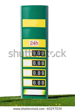 gasoline prices on a sign on white background - stock photo