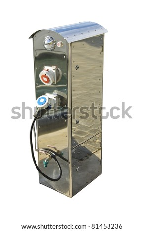 Gasoline pump isolated on white. Fuel station or petrol fueling station. Diesel service with pump hose.