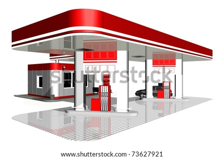 gasoline station - stock photo