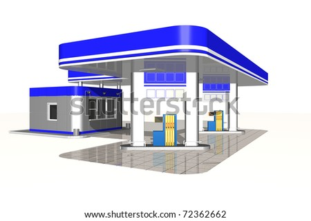 Gasoline station on a white background