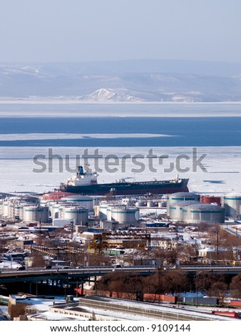 gasoline tanker at russian petroleum port Vladivostok - stock photo