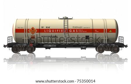 Gasoline tanker railroad car - stock photo