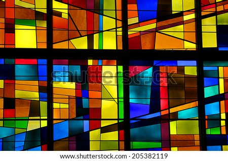 GASPE QUEBEC CANADA AUGUST 22: Modern stained glass window Christ Church Cathedral on august 22 2012 in Gaspe Quebec Canada - stock photo
