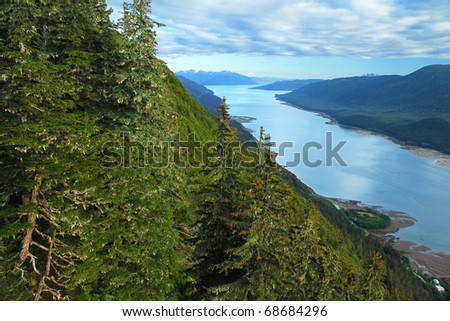 Gastineau Channel leading into Juneau, Alaska - viewed from Mount Roberts - stock photo
