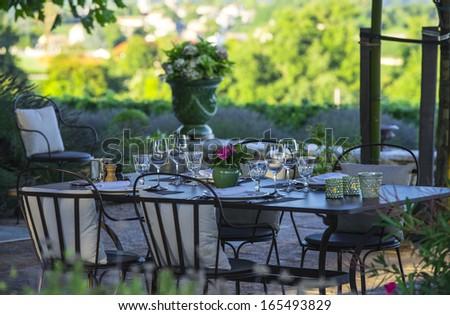 Gastronomy - Restaurant - Luxury -Terrace in summer - Vineyard - stock photo