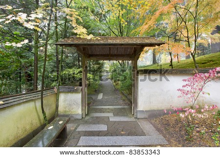 Gate and Pathway in Japanese Garden in the Fall Season