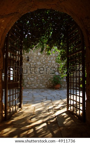 gate at ancient castle - stock photo