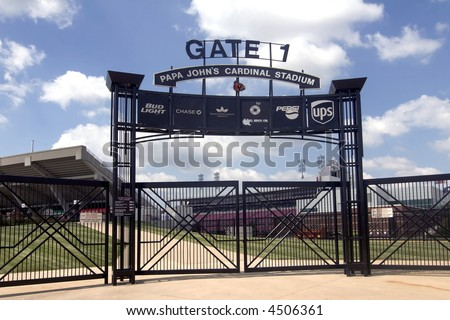 Gate 1 at Cardinal Stadium at the University of Louisville,Kentucky, with stands in background - stock photo