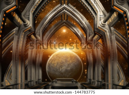 Gate Construction and Alien Planet - stock photo