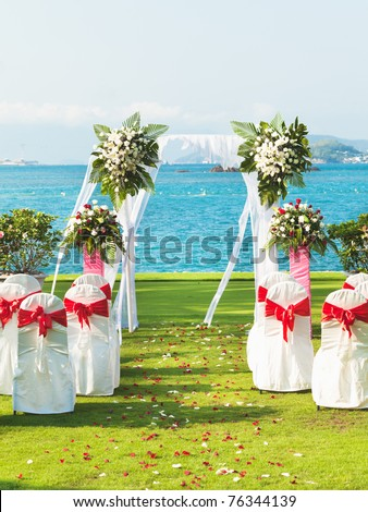 Gate for a wedding on a tropical beach - stock photo