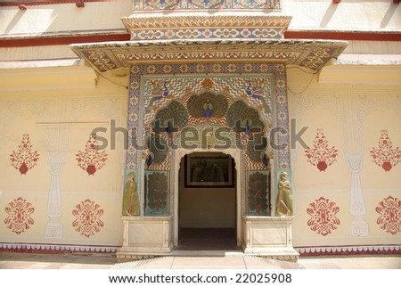 Gate in City Palace in Jaipur, Rajasthan