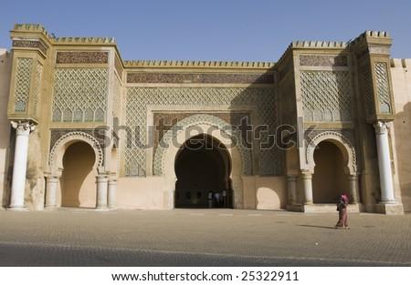 Gate in Meknes, Morocco - stock photo