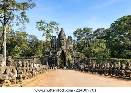 Gate into Angkor Thom - stock photo