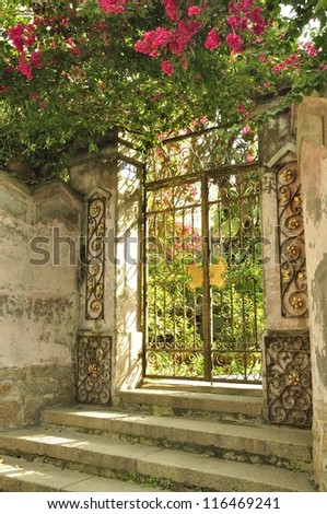 Gate of an old Villa - stock photo