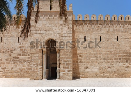 Gate of Ancient Ribat of Sousse, Tunisia - stock photo