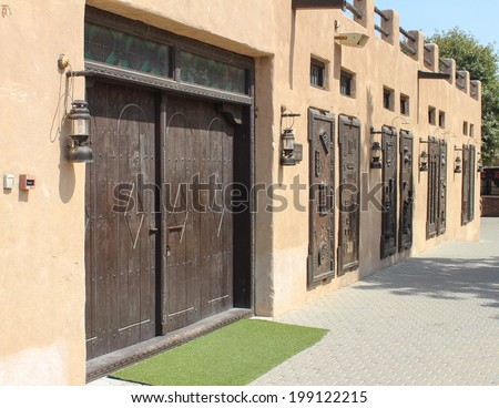 Gate of Arabian old house - stock photo