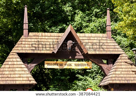 gate of Bialowieski national park, Podlaskie Voivodeship, Poland