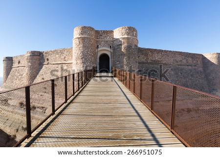 Gate of castle of Chinchilla.  Chinchilla de Monte-Aragon, province of Albacete, Spain - stock photo