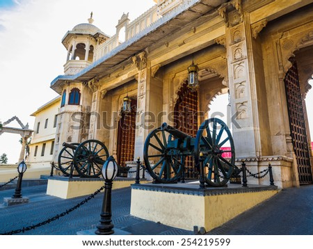 Gate of City Palace in Udaipur, Rajasthan, India - stock photo