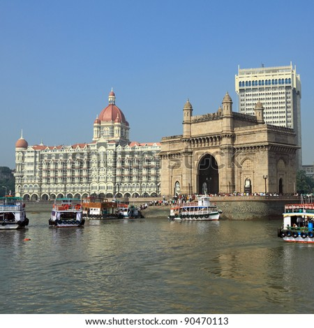 Gate of India and hotel Taj Mahal Palace  in Mumbai ( formerly Bombay), India, Asia - stock photo