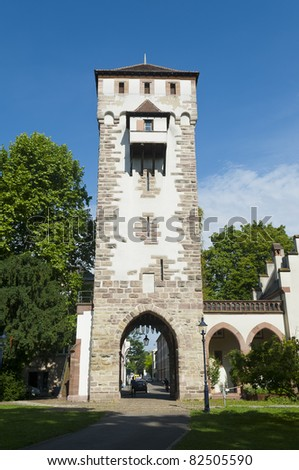 Gate of Saint Alban in Basel, Switzerland. One of the three significant old gates in the city. - stock photo