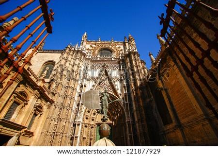 Gate of Sevilla Cathedral , Sevilla , Spain - stock photo