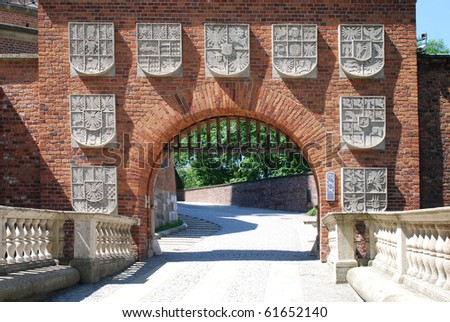 Gate of The Wawel Royal Castle in Cracow, Poland. - stock photo