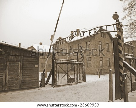 Gate  to Auschwitz concentration camp in Poland - stock photo