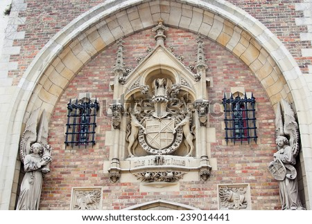 Gate to Gruuthusemuseum - former palace of the Lords of Gruuthuse, Brugge, Belgium.  - stock photo