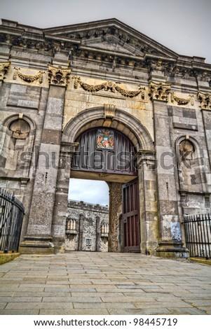 Gate to Kilkenny Castle in Co. Kilkenny, Ireland - stock photo