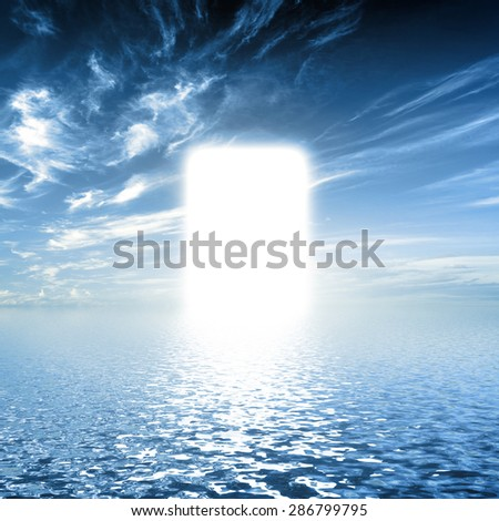 Gate to paradise, way on water towards light, new world. Concepts for religion, God, hope, faith. - stock photo