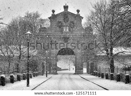 Gate to Vysehrad in winter, Prague, Czech Republic - stock photo