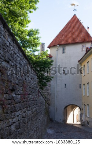 Gate tower Pikk jalg in old Tallinn, stone building 17th century