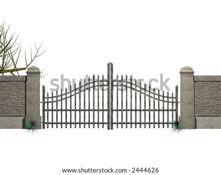 Gate with bushes - stock photo