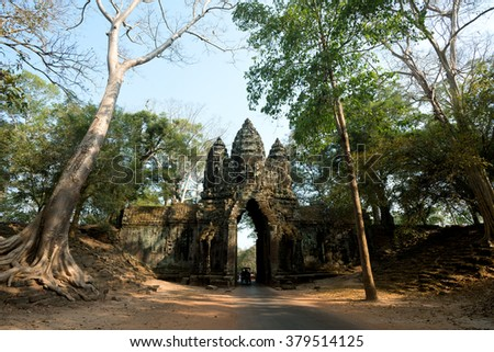 Gate within Angkor Wat site, Siem Reap, Cambodia - stock photo