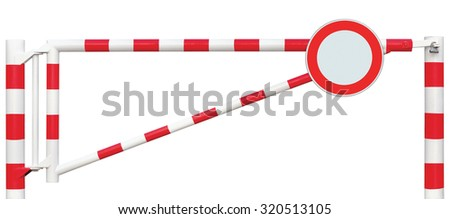 Gated Road Barrier Closeup, Round No Vehicles Sign, Roadway Gate Bar, Bright White Red Traffic Entry Stop Security Point Gateway, Isolated Closed Checkpoint Halt Signage, Restricted Area Warning - stock photo