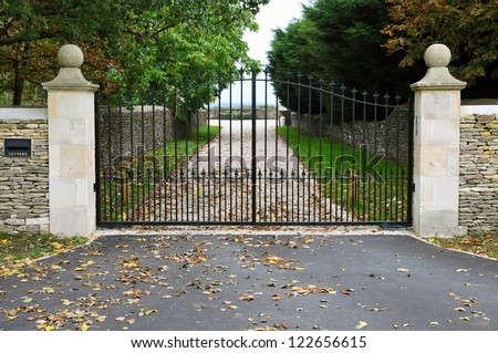 Gates and Drive of a Country Estate - stock photo