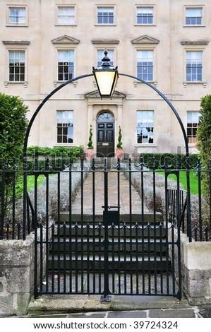 Gates and Garden Path of a Georgian Era Town House - stock photo