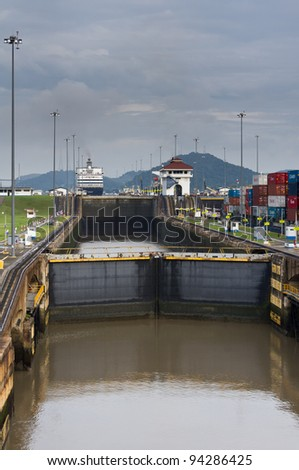 Gates and pool of the Miraflores Locks on the Panama Canal - stock photo