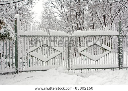 Gates covered with snow on winter season