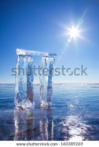 Gates made from ice on lake Baikal in Sineria under winter Sun