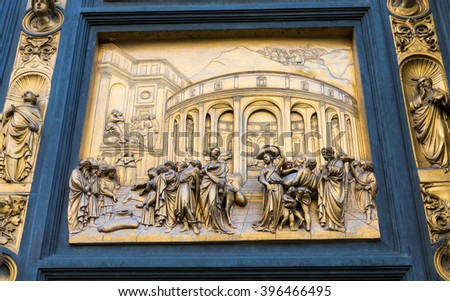 Gates of Paradise with Bible stories on door of Duomo Baptistry in Florence, Italy - stock photo