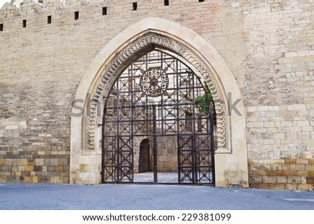 Gates of the fortress Old ?ity Baku - stock photo