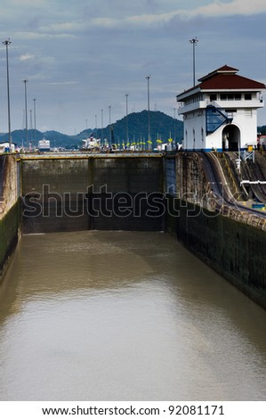 Gates of the Miraflores Locks in Panama Canal ready to open - stock photo