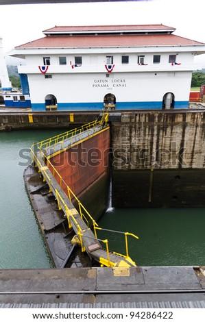 Gates on the Panama Canal locks at Gatun - stock photo