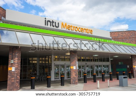 GATESHEAD, ENGLAND - AUGUST 12.  The Intu Metrocentre, formerly MetroCentre and known on road signs as Metro Centre, is a shopping centre in Gateshead, Tyne and Wear.  Taken on August 12, 2015.