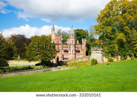 GATESHEAD, UK, OCTOBER 8TH 2015. Saltwell Towers, Low Fell, Gateshead. Saltwell Tower's is a fairy tale mansion house, which now houses a visitor centre and cafe. It is in the centre of Saltwell Park.