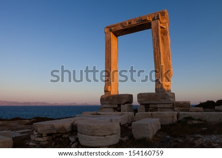 Gateway at temple of Apollo in Naxos, Greek Islands - stock photo