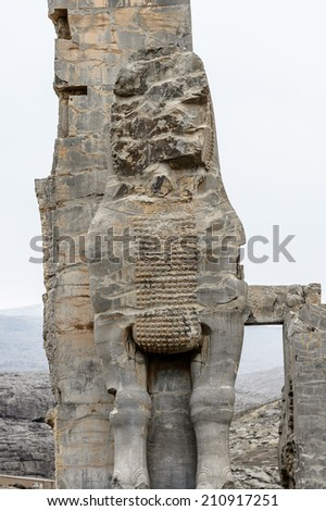 Gateway of All Nations - Statue of the entrance into the ancient city of Persepolis, Iran. UNESCO World Heritage Site.
