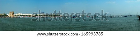 Gateway of India, Mumbai Harbor Panorama - stock photo